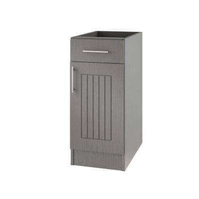 Assembled 12x34.5x24 in. Naples Island Outdoor Kitchen Base Cabinet with 1 Door and 1 Drawer Right in Rustic Gray