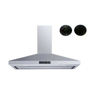 36 in. Convertible Wall Mount Range Hood in Stainless Steel with Mesh filters in Stainless Steel Panel