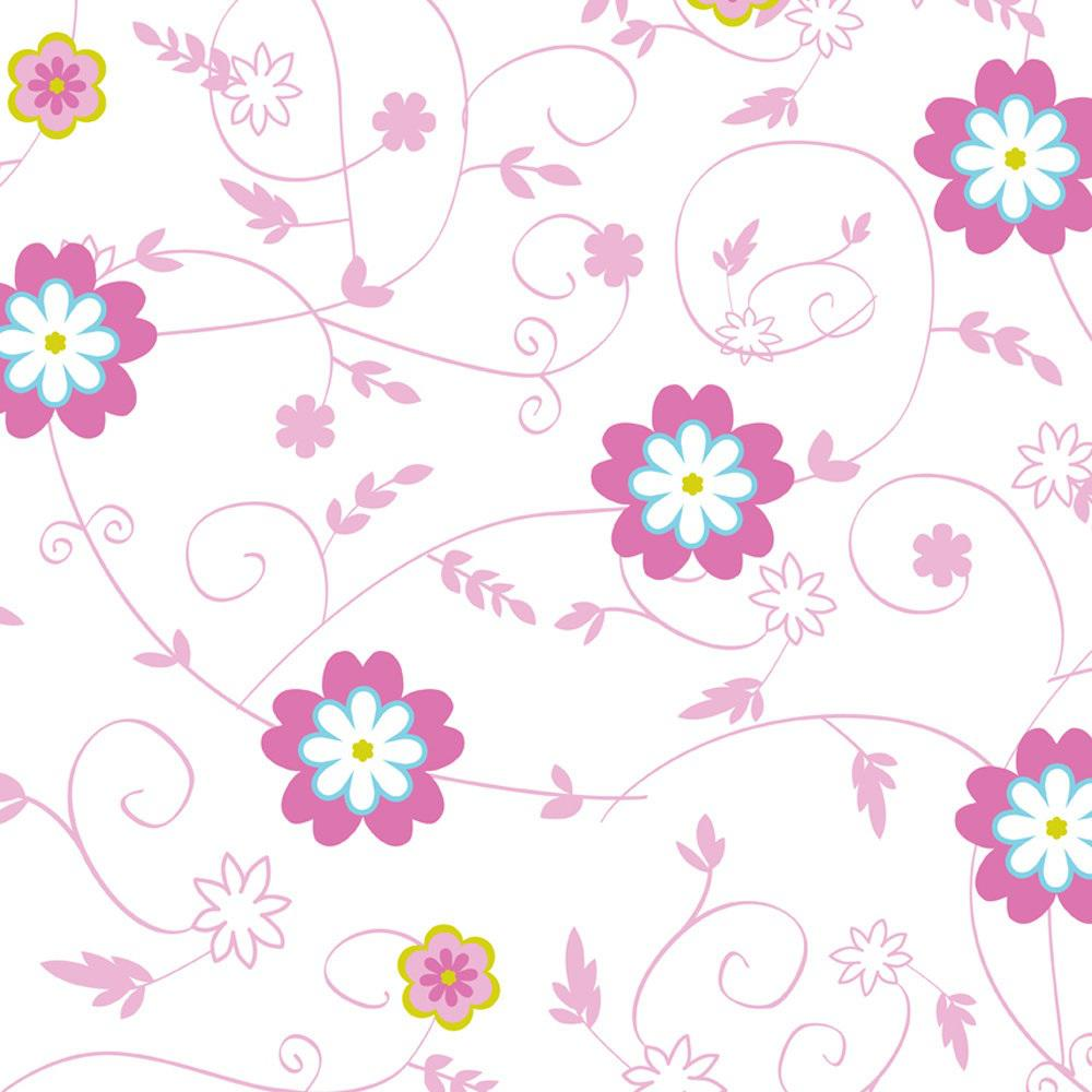 Grip Prints Sassy Pink, Blue, Yellow and White Floral Shelf and