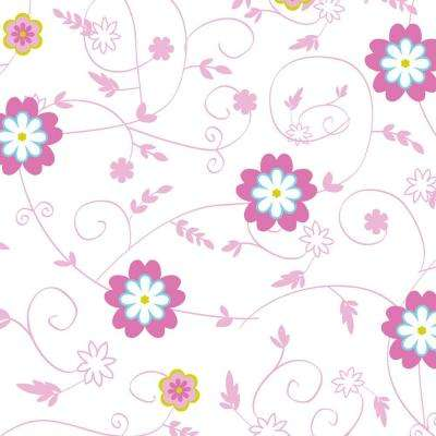 Grip Prints Sassy Pink, Blue, Yellow and White Floral Shelf and Drawer Liner (Set of 6)