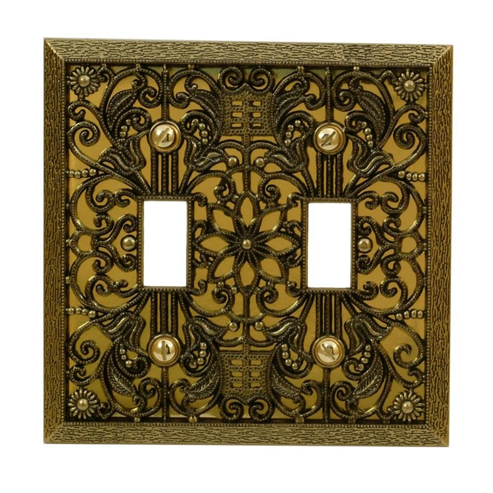 Amerelle Filigree 2 Toggle Wall Plate - Antique Brass