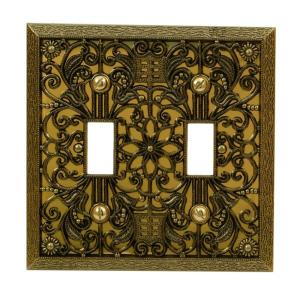 Amerelle Filigree 2 Toggle Wall Plate Antique Brass