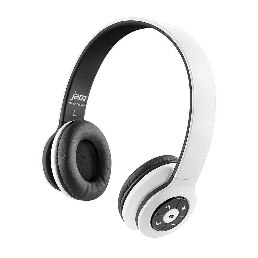 HMDX JAM Transit Bluetooth Wireless Stereo Headphones, White