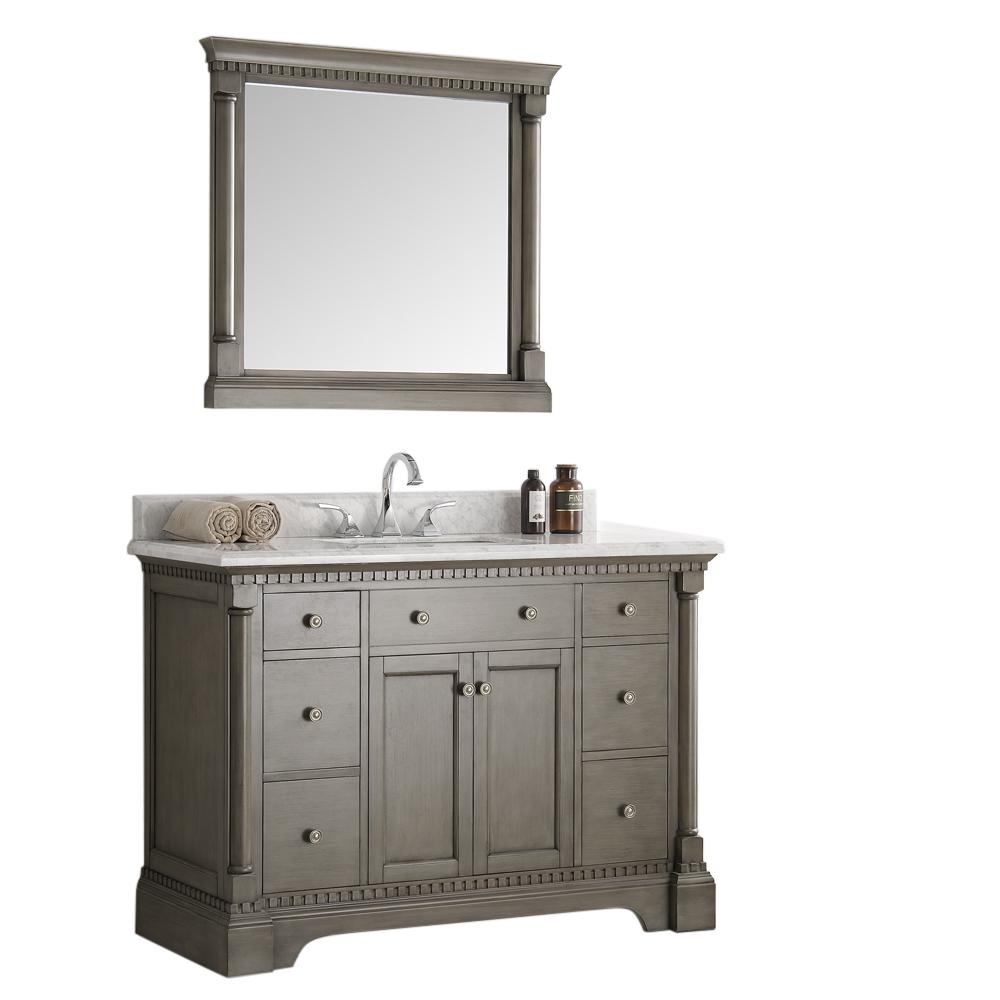 Fresca Kingston 48 in. Vanity in Antique Silver with Marble Vanity Top in Carrera White with White Ceramic Basin and Mirror