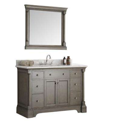 Kingston 48 in. Vanity in Antique Silver with Marble Vanity Top in Carrera White with White Ceramic Basin and Mirror