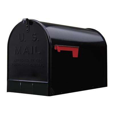 Jumbo Galvanized Steel Post-Mount Mailbox, Black