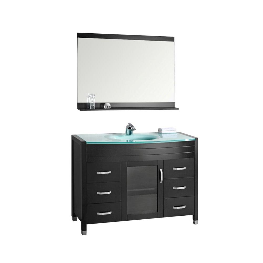 Design Element Waterfall 48 in. W x 22 in. D Single Vanity in Espresso with Tempered Glass Vanity Top and Mirror in Mint