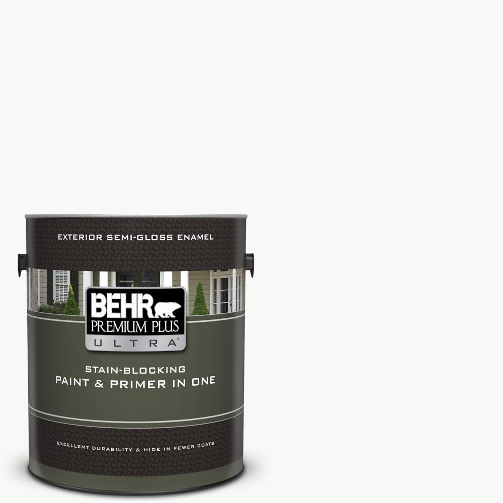 BEHR Premium Plus Ultra 1 gal. Ultra Pure White Semi-Gloss Enamel Exterior Paint and Primer in One