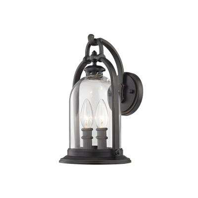 North Haven 2-Light English Bronze with Clear Glass Outdoor Wall Mount Sconce