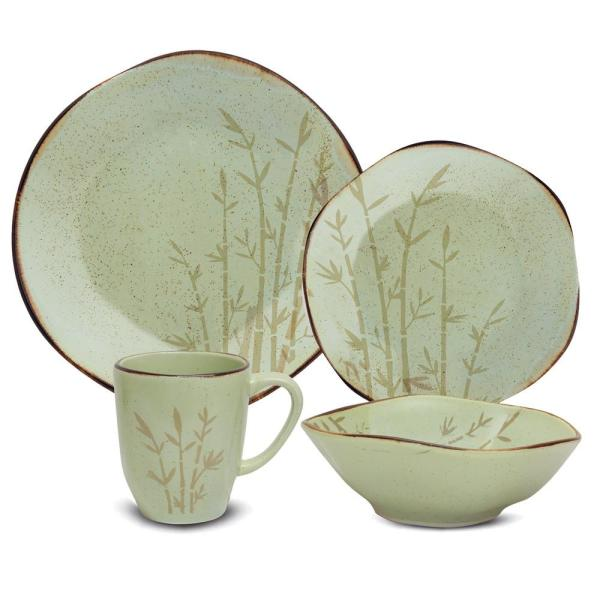 RYO 16-Piece Green Porcelain Dinnerware Set (Service for 4)