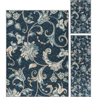 Majesty Navy 5 ft. x 7 ft. 3-Piece Rug Set
