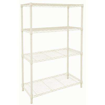 4 Shelf Steel Shelving Unit in Ivory