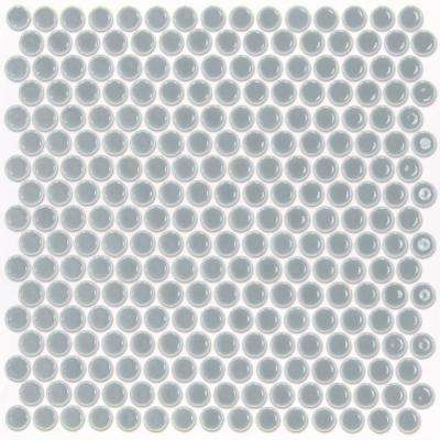 Bliss Edged Penny Round Modern Gray 12 in. x 12 in. x 10 mm Polished Ceramic Mosaic Tile
