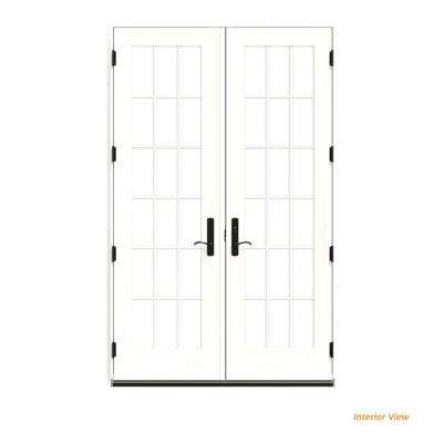 60 in. x 96 in. W-4500 Brown Clad Wood Left-Hand 18 Lite French Patio Door w/White Paint Interior