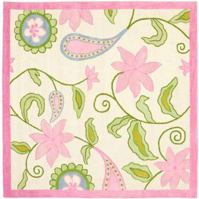 Kids Ivory/Pink 7 ft. x 7 ft. Square Area Rug