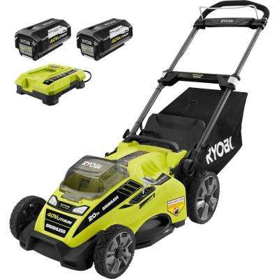 20 in. 40-Volt Brushless Lithium-Ion Cordless Battery Walk Behind Push Lawn Mower- Two 5.0 Ah Batteries/Charger Included