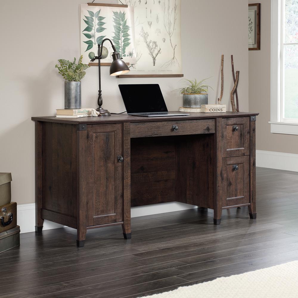Carson Forge Coffee Oak Computer Desk