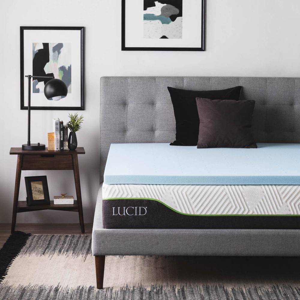 home depot mattress topper Lucid 2 in. Queen Gel Infused Memory Foam Mattress Topper  home depot mattress topper