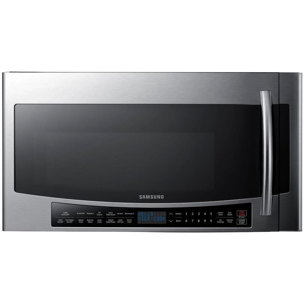Samsung 30 In W 1 7 Cu Ft Over The Range Convection Microwave Fingerprint