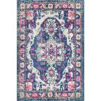 Corbett Vintage Medallion Purple 8 ft. x 11 ft. Area Rug