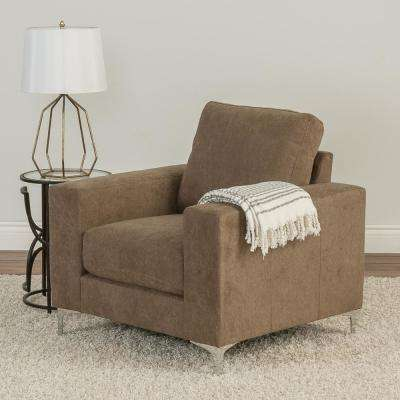Cory Brown Chenille Fabric Armchair