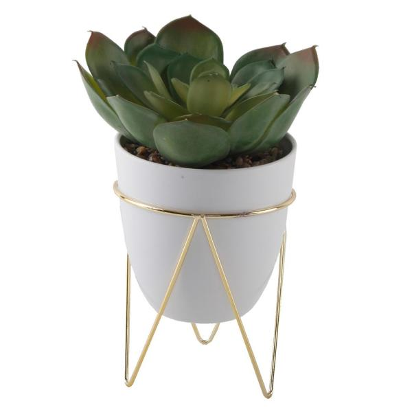 8.5 in. Artificial Faux Succulent in 4.75 in. White Pot on Gold Metal Stand