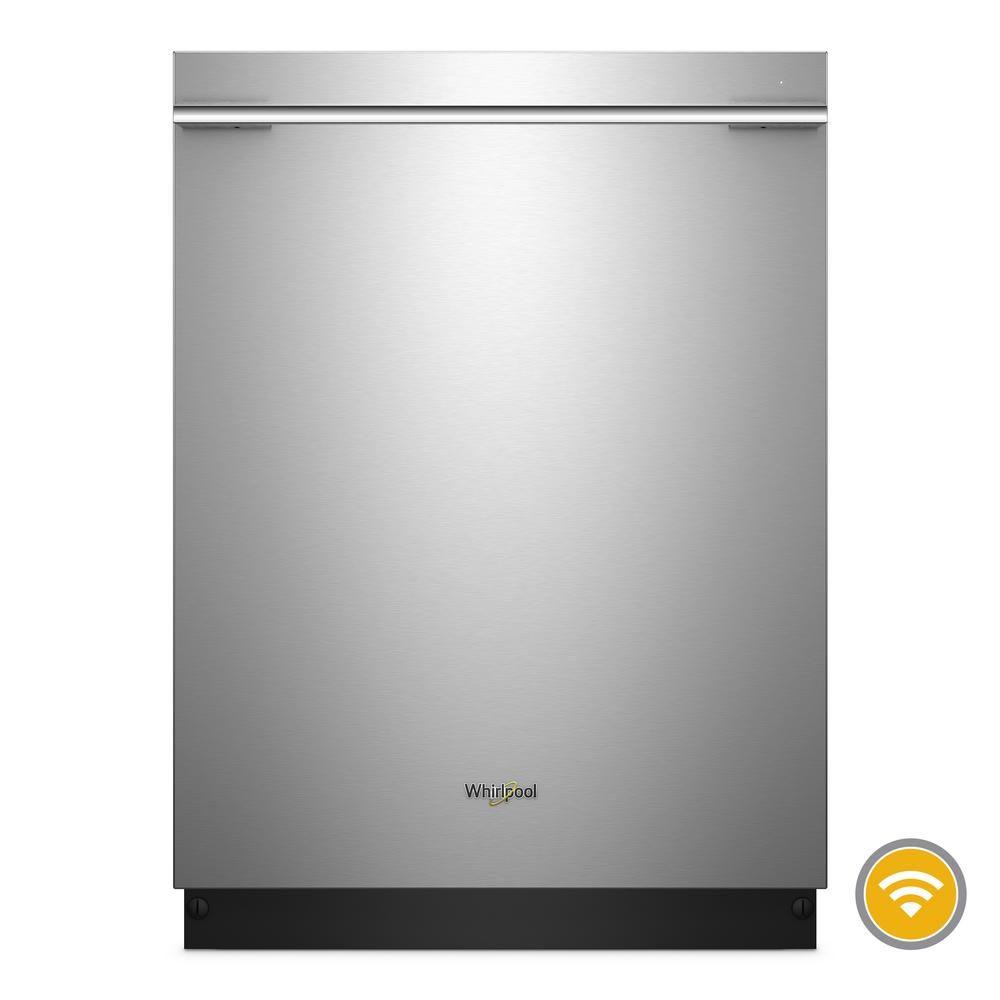 Whirlpool Top Control Smart Built-In Tall Tub Dishwasher in Fingerprint Resistant Stainless Steel with Contemporary Handle Clean your dishes from anywhere with this stainless steel smart dishwasher. Take advantage of 37% more rack space with the third level rack. Then download specialty and customized cycles from your app, or choose the Sensor cycle and let your smart dishwasher pick the right cycle for you. Finish up with dry dishes thanks to the stainless steel tub. Color: Fingerprint Resistant Stainless Steel.