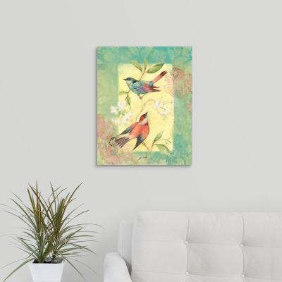 """16 in. x 20 in. """"Bright Floral - Two Birds"""" by  Susan Winget Canvas Wall Art"""