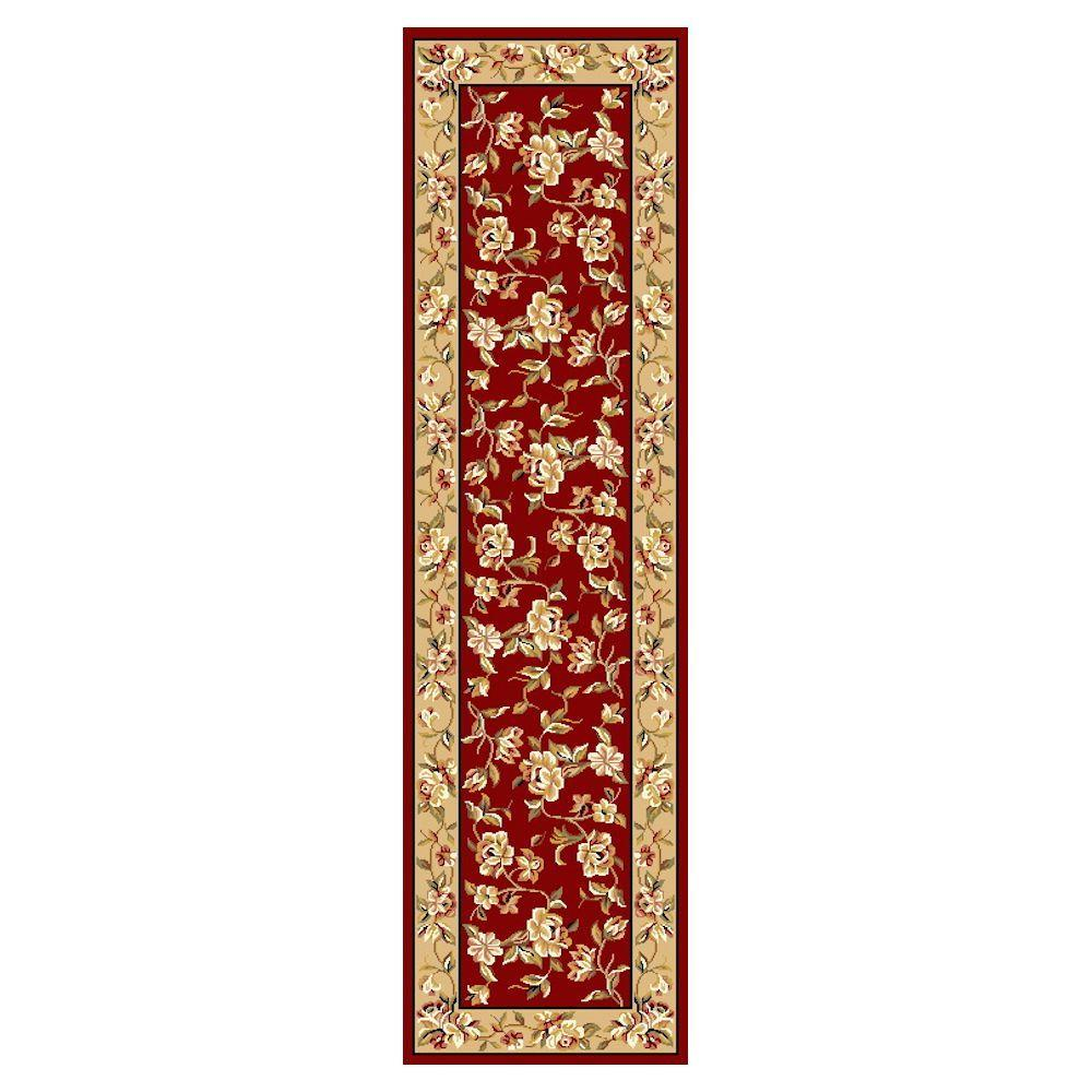 Traditional Florals Red 2 ft. 2 in. x 7 ft. 11 in. Rug Runner