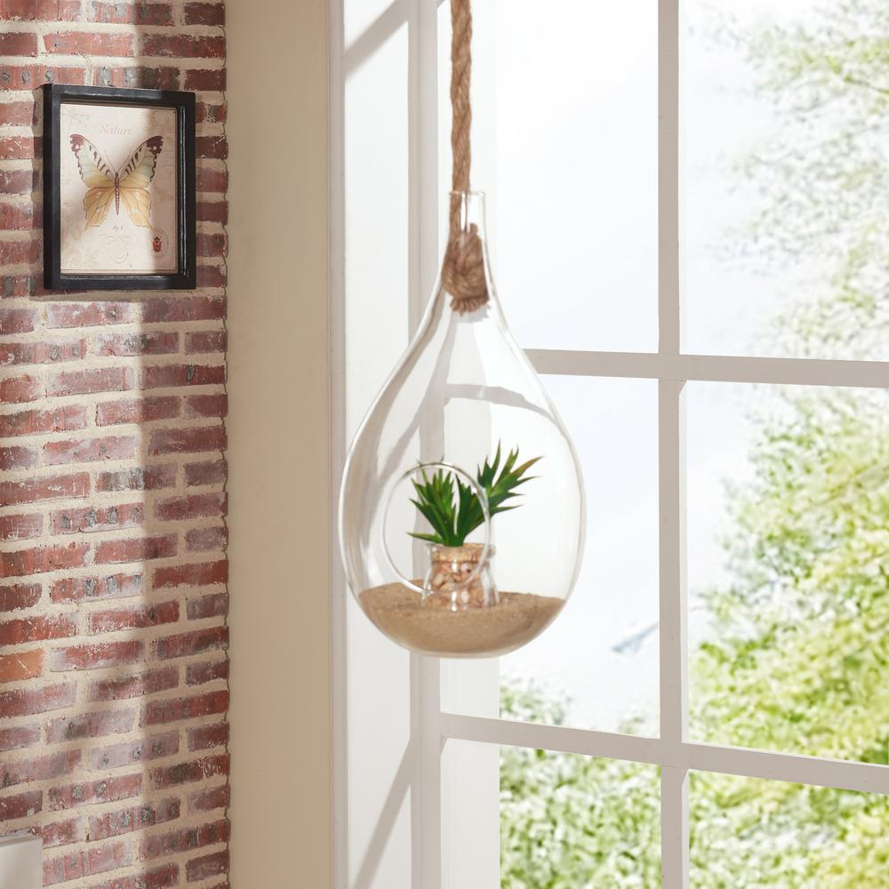 Danya B Teardrop Clear Glass Hanging Planter With Rope Decorative