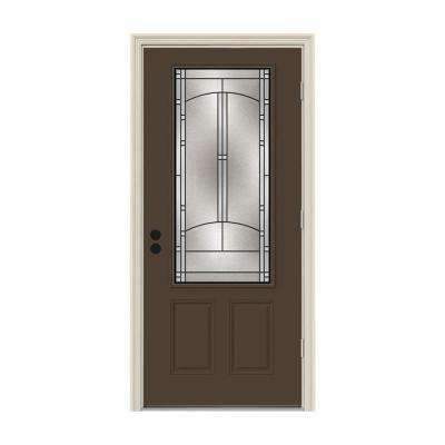 32 in. x 80 in. 3/4 Lite Idlewild Dark Chocolate Painted Steel Prehung Left-Hand Outswing Front Door w/Brickmould