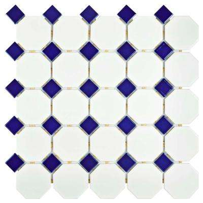 Metro Octagon Matte White with Cobalt 11-1/2 in. x 11-1/2 in. x 5 mm Porcelain Mosaic Tile (9.2 sq. ft. / case)
