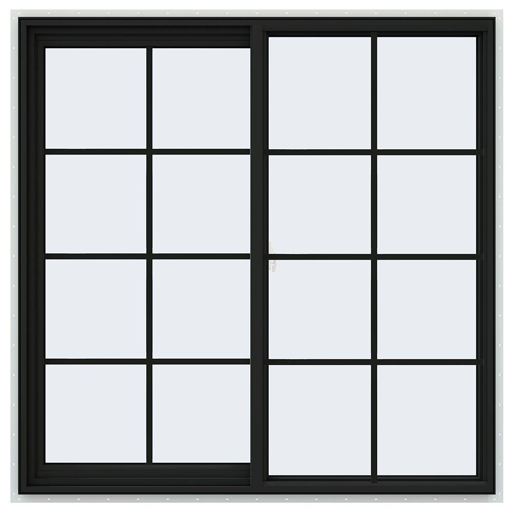 JELD-WEN 48 in. x 48 in. V-2500 Series Bronze FiniShield Vinyl Left-Handed Sliding Window with Colonial Grids/Grilles