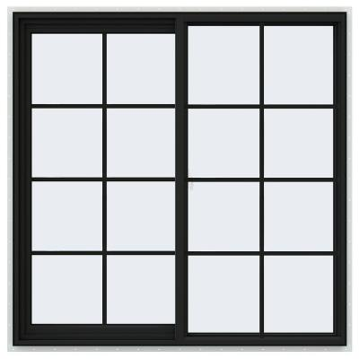 48 in. x 48 in. V-2500 Series Bronze FiniShield Vinyl Left-Handed Sliding Window with Colonial Grids/Grilles