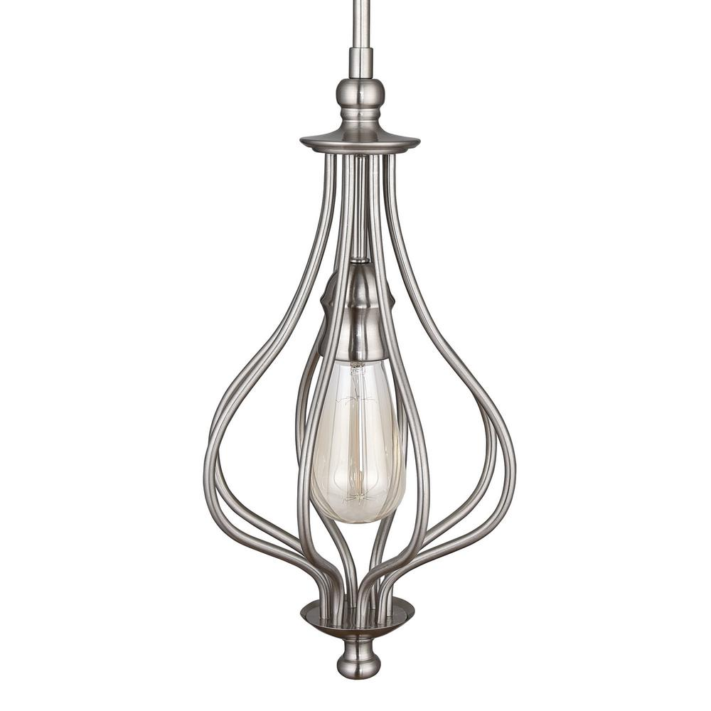 Home Decorators Collection 1-Light Brushed Nickel Teardrop Mini Pendant