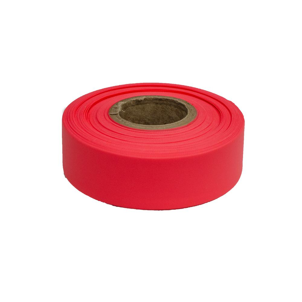 Fluorescent Pink 12 Rolls Flagging Marking Tape 1 3//16 in x 150 ft Non-Adhesive