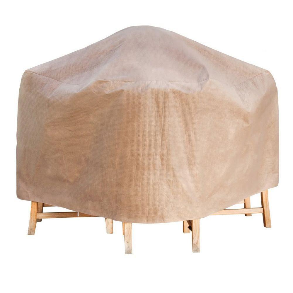 Duck Covers Elite 64 in. Square Cappuccino Patio Table and Chair Set Cover with Inflatable Airbag to Prevent Pooling