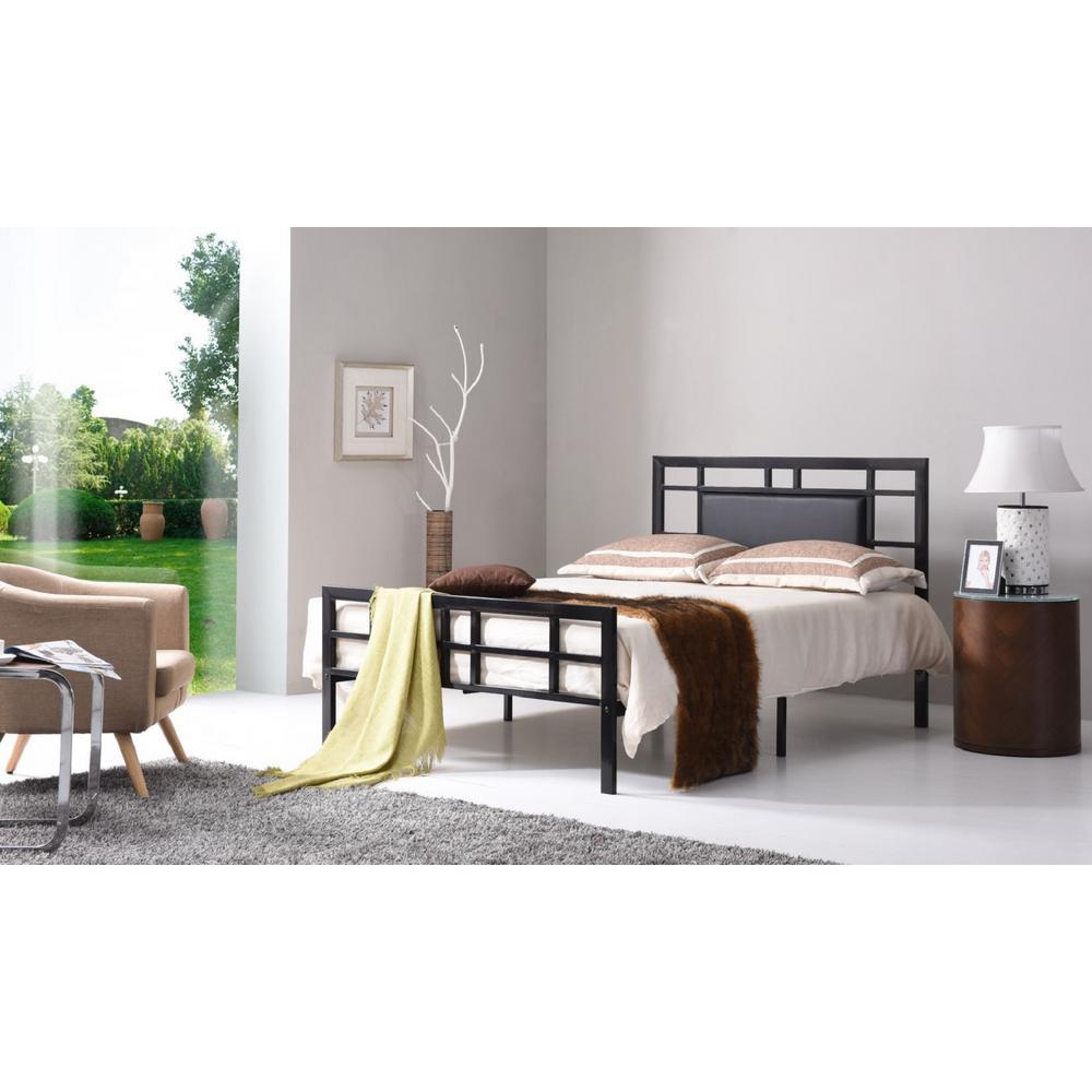 Black Queen Upholstered Bed