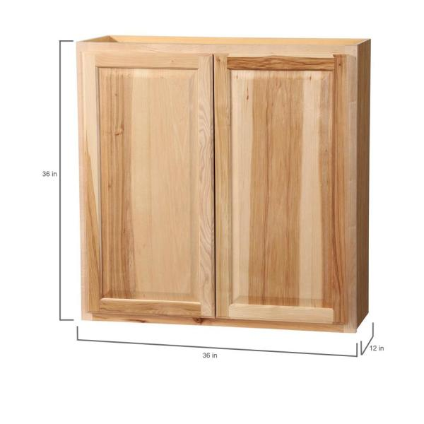 Hampton Bay Hampton Assembled 36x36x12 In Wall Kitchen Cabinet In Natural Hickory Kw3636 Nhk The Home Depot