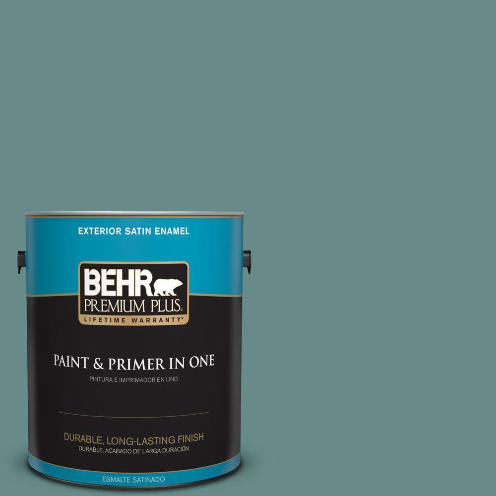 BEHR Premium Plus 1-gal. #ECC-60-3 Pool Tide Satin Enamel Exterior Paint