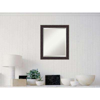 Rustic Pine Wood 19 in. x 23 in. Distressed Framed Mirror