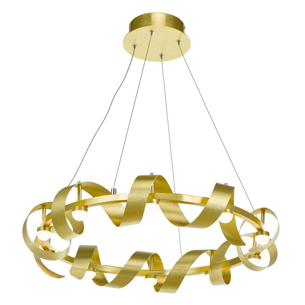 10-Light Brushed Brass Chandelier