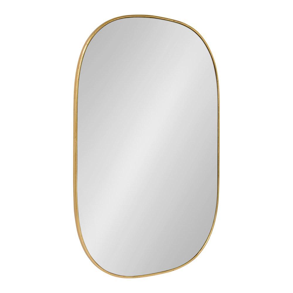 Medium Oval Gold Art Deco Mirror (35.5 in. H x 23.75 in. W)