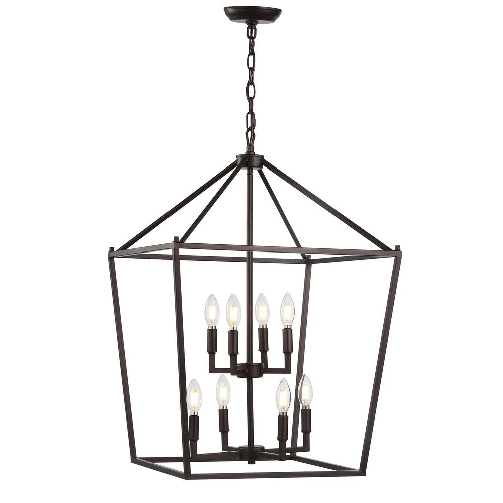 JONATHAN  Y Pagoda 20 in. 8-Bulb Oil Rubbed Bronze Lantern Metal LED Pendant