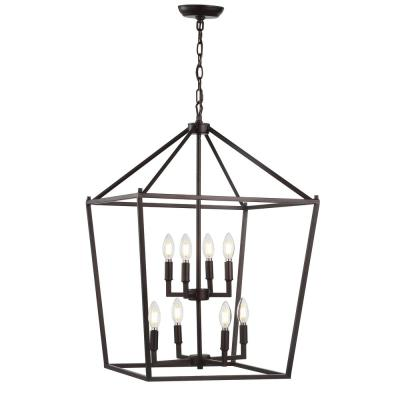 Pagoda 20 in. 8-Bulb Oil Rubbed Bronze Lantern Metal LED Pendant