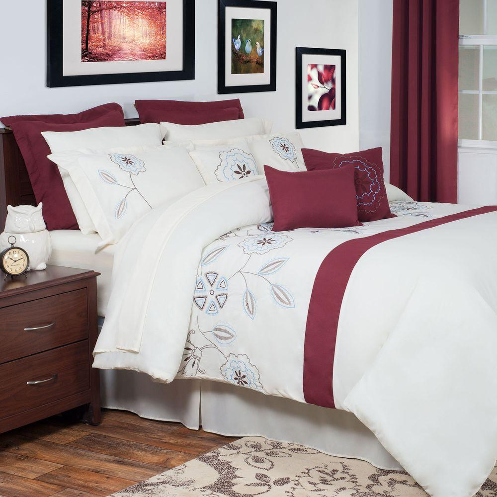 Olivia Red Embroidered 13 Piece Queen Comforter Set