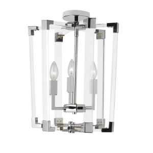 Artico 3-Light Polished Chrome Chandelier with No Shades