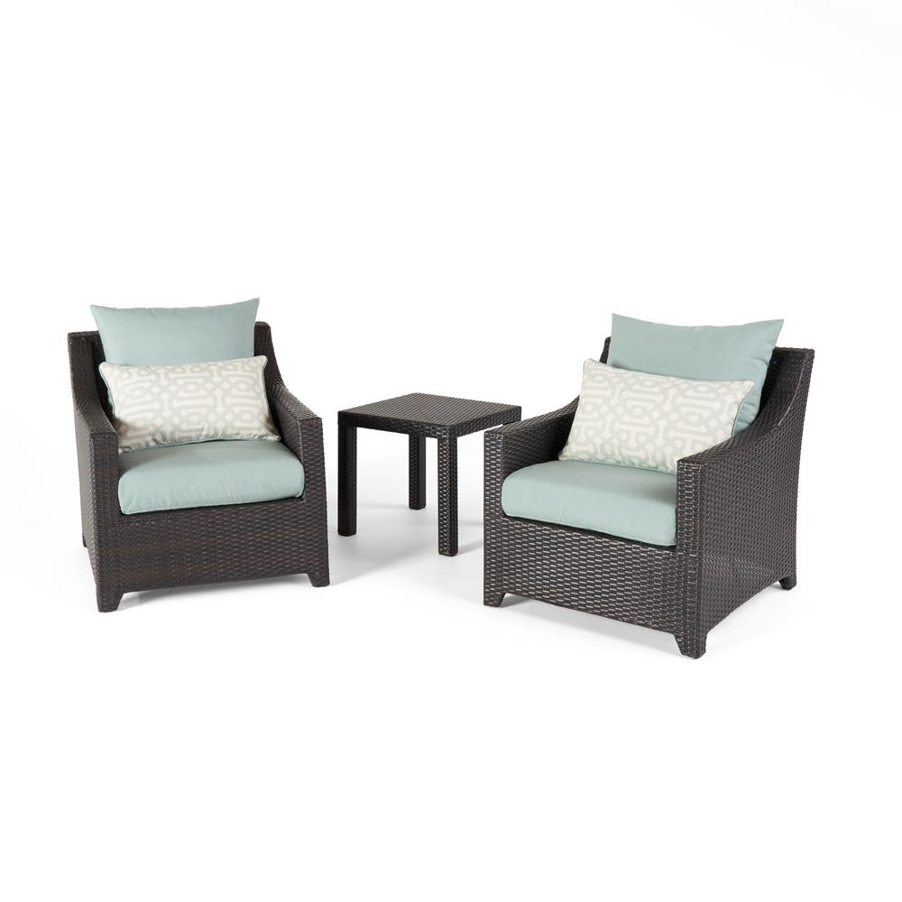 RST Brands Deco 3-Piece Aluminum All-Weather Wicker Patio Club Chairs and Side Table Seating Set with Spa Blue Cushions