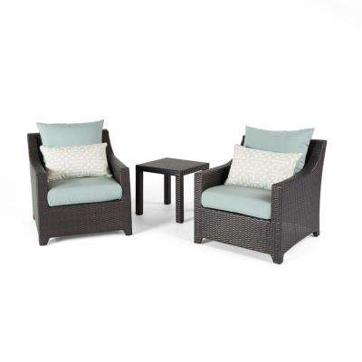 Deco 3-Piece Aluminum All-Weather Wicker Patio Club Chairs and Side Table Seating Set with Spa Blue Cushions