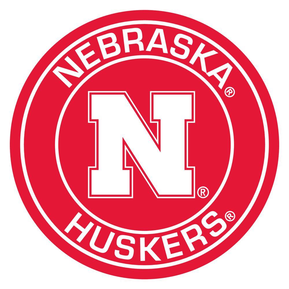 NCAA University of Nebraska Red 2 ft. 3 in. x 2 ft. 3 in. Round Accent Rug
